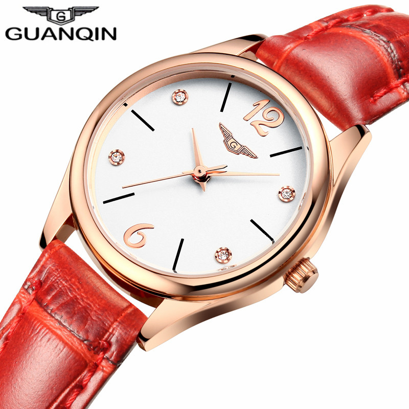 Fashion GUANQIN Luxury Brand Women Watch Crystal Rhinestone Leather Quartz Watches Ladies Casual Wrist Watch Relogio Feminino цена