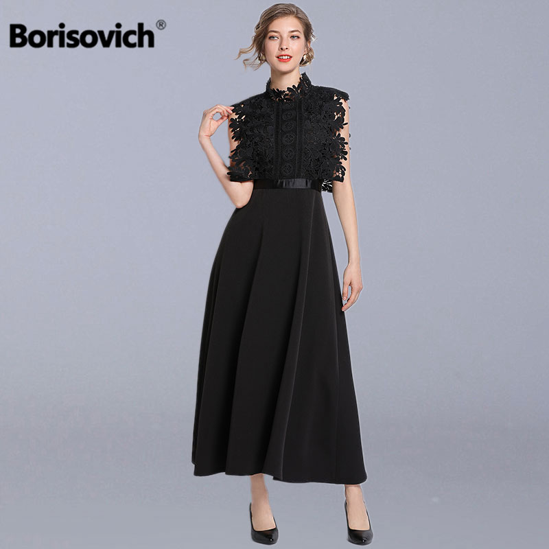 Borisovich Ladies Elegant Party Dresses New 2019 Spring Fashion Patchwork Lace Big Swing A line Women