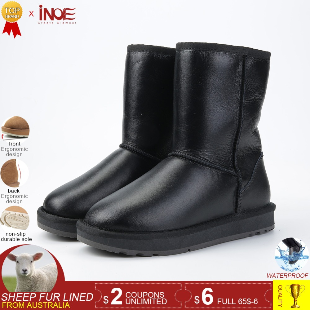 INOE Classic Sheepskin Leather Wool Fur Lined Women Mid-calf Winter Boots for Woman Basic Snow Boots Shoes Waterproof Black Grey
