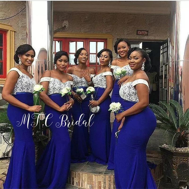 Wholesale African Bridesmaid Dresses 2019 Mermaid Royal Blue Elastic Satin White Lace Top Long Wedding Party Dress Cheap