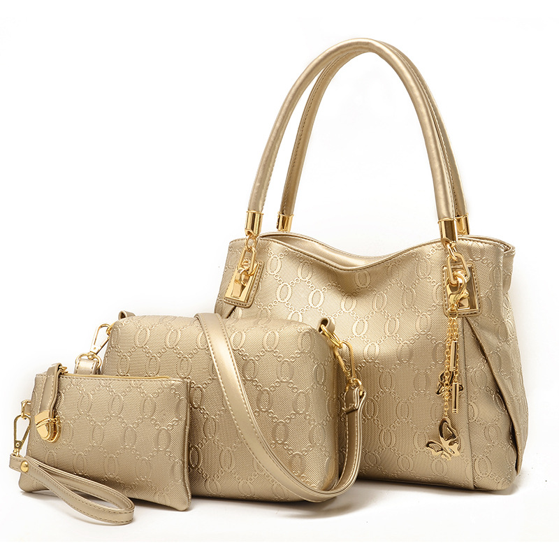 все цены на Women Bag female Top-Handle Bags Famous Brand 2017 Women Messenger Bags Handbag famous brand 3 Set PU Leather Composite