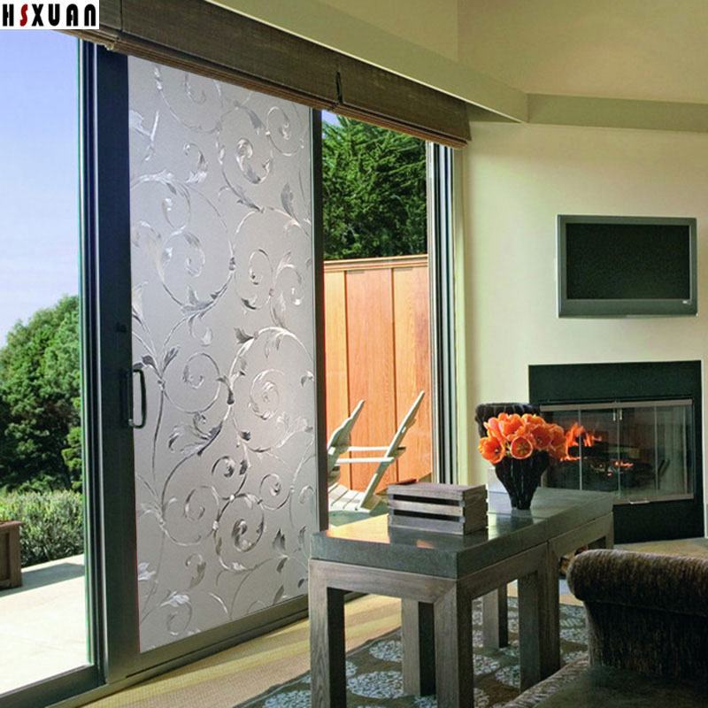 80x100cm Sliding Glass Door Window Film Privacy Home Decoration 3D Flower  Printing Static Window Stickers Hsxuan