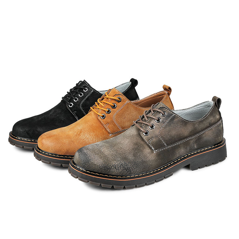 Chaussures Classique Cheville Fait khaki Style Bas La black Mode Mâle Chaude Npezkgc Hommes Caoutchouc En Gray À Cuir Main Bottes Véritable Woker TqdxZvwp