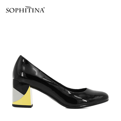 SOPHITINA Brand Lady Pump Handmade Patent Leather Thick Heel Round Toe Colorful heel Party Career Fashion Mature Shoes Women W09 2