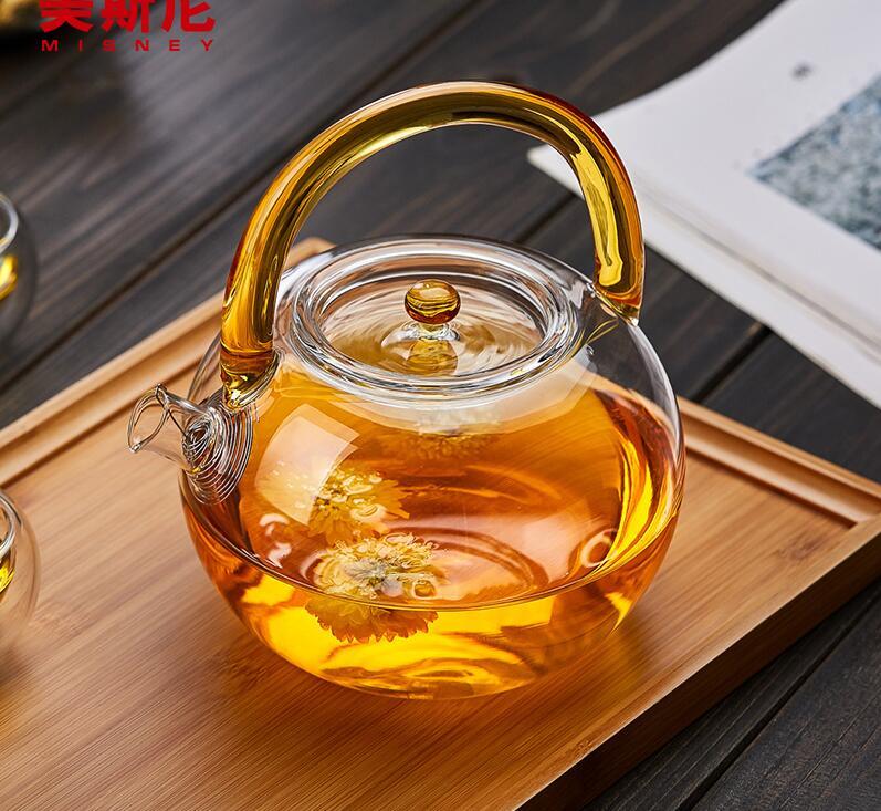 Glass kettle Beam pot Thicker High temperature Boiled tea Transparent glass Tea set Filter the teapot Teapot