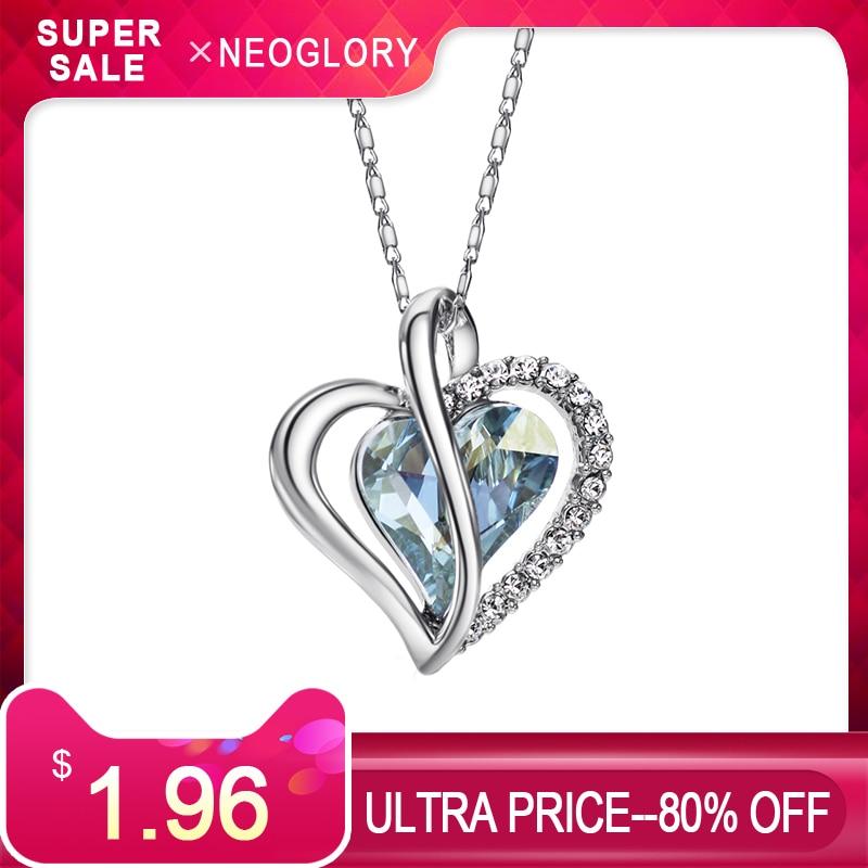 fc798f7c2 Neoglory Austria Crystal & Rhinestone Charm Pendant Choker Chain Necklace  Love Heart For Women Collar Statement
