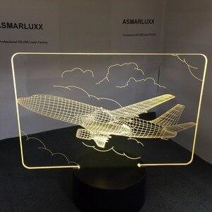 Image 5 - Lámpara de mesa LED 3D con Control remoto para avión de aire lámpara de ambiente de 7 cambios de color con batería de 3AA y USB