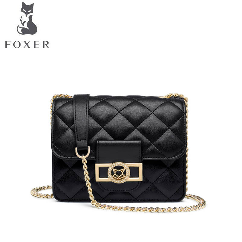 FOXER 2018 New women leather bag luxury handbags designer fashion black small bag chains simple women leather shoulder bag 2018 new foxer brand women leather bag high quality fashion chains women shoulder messenger bag cowhide black simple small bag
