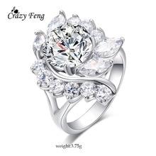 Big Elegant Flowers Engagement Rings Bridal Fashion Jewelry Luxury Full Crystal Rhinestone Silver Color CZ Ring