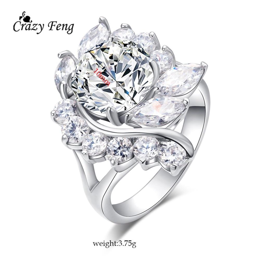 Big Elegant Flowers Engagement Rings Bridal Fashion font b Jewelry b font font b Luxury b