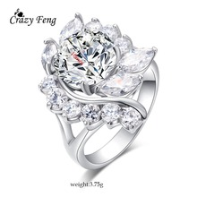 Big Elegant Flowers Engagement Rings Bridal Fashion Jewelry Luxury Full Crystal Rhinestone Silver Color CZ Ring For Women Bijoux