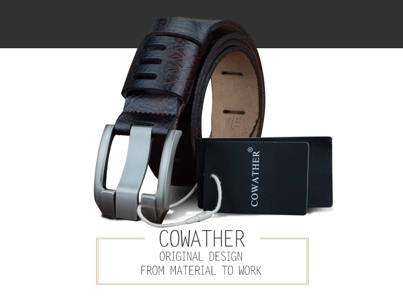 COWATHER 2017 QUALITY cow genuine luxury leather men belts for men strap male pin buckle BIG SIZE 100-130cm 3.8 width QSK001 3