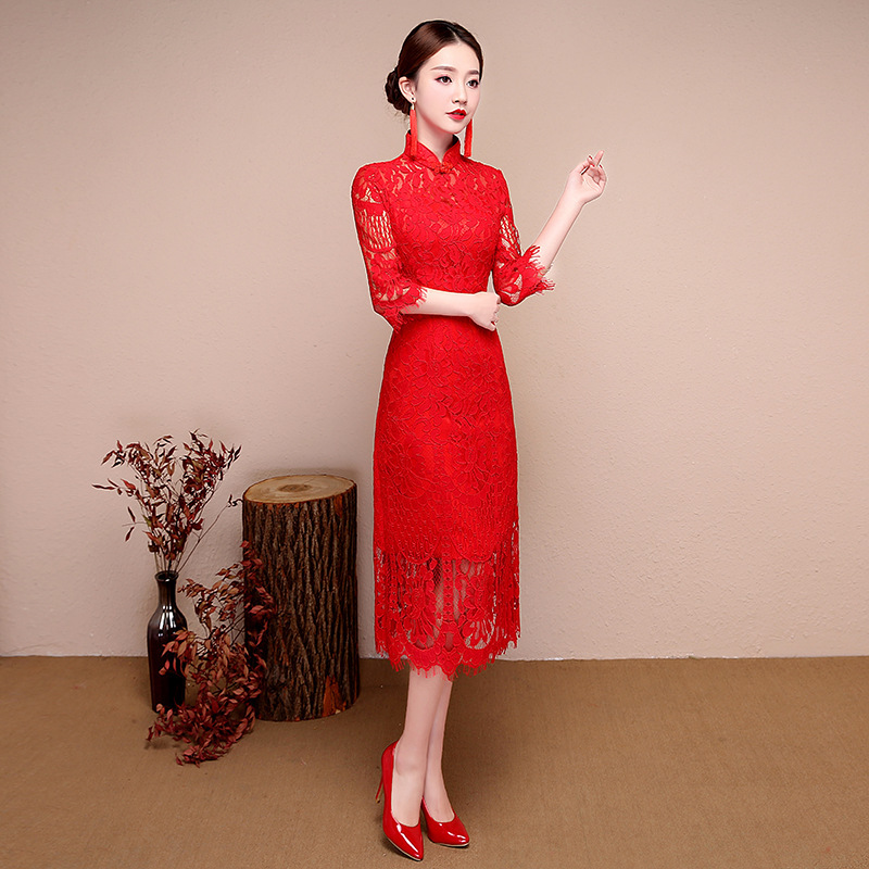 Novia cheongsam largo qipao moderno Encaje sexy rojo estilo oriental ...