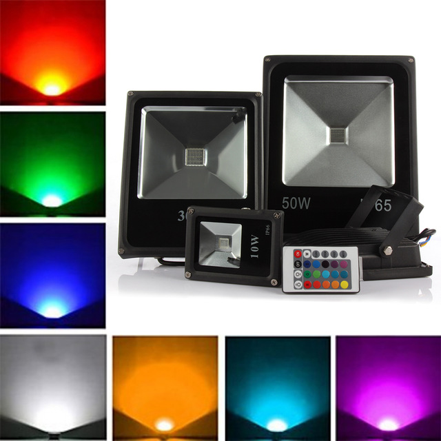Led Outdoor Lighting 10W 20W 30W 50W RGB Led floodlight AC85-265V spotlight outdoor Led light lamp + 24 keys remote control
