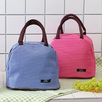 Women Fashion Stripe Lunch Bags Aluminum Thicken Portable picnic Food Fresh Keep Insulated Cooler Oxford Thermal Storage Cases