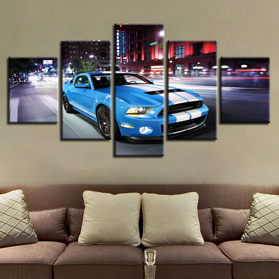 Wall Art Modular Poster HD Printed Modern Canvas 5 Panel Blue Sports Car For Living Room Pictures Home Decor Painting Frame
