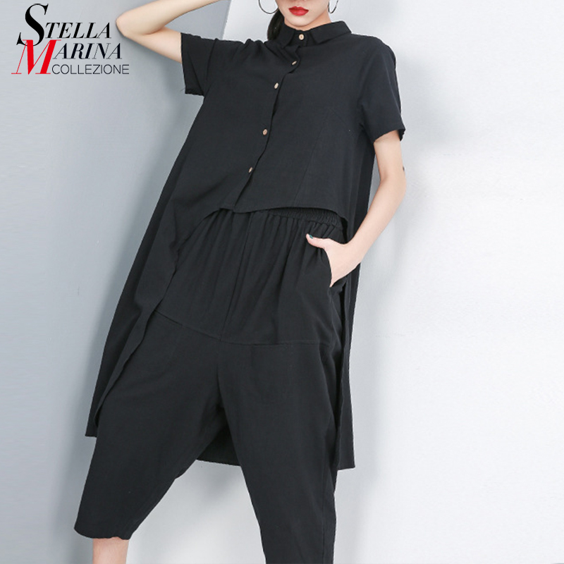 2019 Korean Style Women Summer Black Two Pieces Set Short Sleeve Blouse Shirt & Calf Length Loose Pants Female Pants Suits 9007