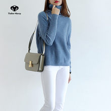 17 new pure cashmere sweater women turtleneck loose stripe style winter warm pullover female fashion casual sweater(China)