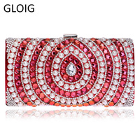 GLOIG Candy Mixed Messenger Chain Shoulder Messenger Women Bags Beaded One Side Metal Evening Bags For Wedding/Party/Dinner