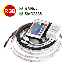 5m/lot Flexible LED Strip RGB LED Light With Remote Controller SMD2835 12V Non-Waterproof Home Decoration RGB Lamps