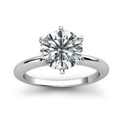 Klasik 9K Beyaz Altın Yüzük 1ct 2ct 3ct Moda Moissanite Elmas Yüzük takı Düğün Nişan yıldönümü yüzüğü