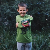 Funny 3D Dinosaur Raptor Printed Boy T Shirts Children Long Sleeve Tees With Hood Novelty Boys