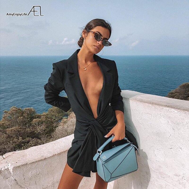 AEL professionnel femmes élégant charme décontracté travail affaires bureau mode Sexy col en V ceinturé moulante volants costume-style robes