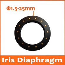 Buy online 1.5-25mm Amplifying Diameter Zoom Optical Iris Diaphragm Aperture Condenser with 14 Blades for Digital Camera Microscope Adapter