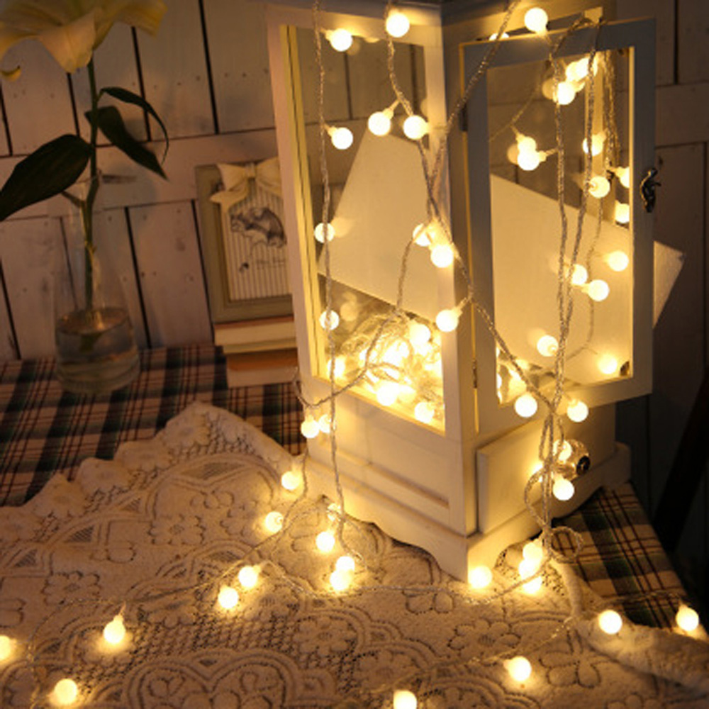 New 1.5M 10LEDs Fairy Garland LED Ball String Lights Waterproof For Christmas Tree Wedding Home Indoor Decoration Battery Powere
