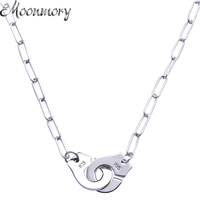 Moonmory S925 Sterling Silver Handcuff Pendant & Necklace For Women Silver Chain Handcuff Necklace White Menottes Wholesale