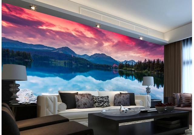 3d Papier Peint Pour Chambre Lacs Et Montagnes Paysage Fond Mur