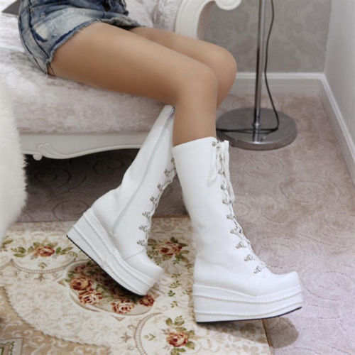 2463335368e9 Women's Tall Calf Knee High Lace Ups Platform Goth Punk Pantshoes Combat  Boots-in Knee-High Boots from Shoes on Aliexpress.com | Alibaba Group