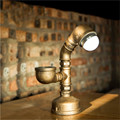 Hot Industrial Steampunk Custom Desk Pipe Lamp Led Bulb Working Valve Switch Vintage Water Pipe Metal Iron Light