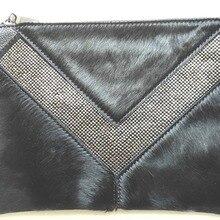 Настоящий конский волос натуральная кожа женский конверт сумка женский день клатч маленькая сумка с клапаном