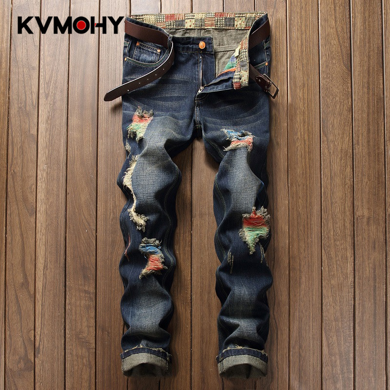 Jeans   Men Casual Ripped Hiphop Pants paint color Straight   Jean   For Male Distressed Denim Trousers Personality Streetwear