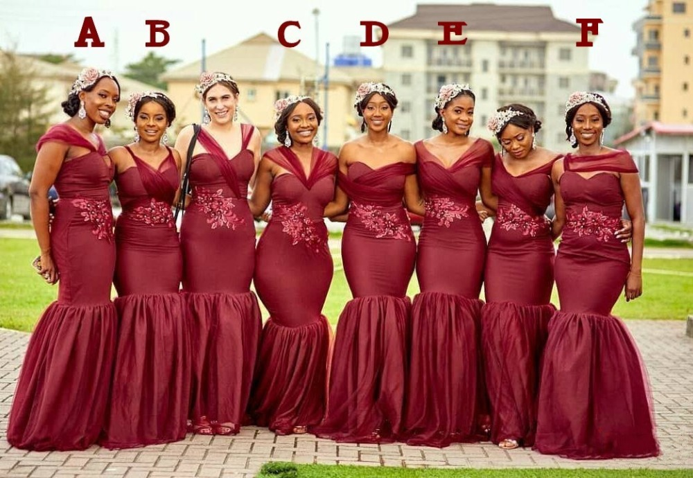 Plus Size   Bridesmaid     Dresses   Long Tulle Burgundy Wedding Party Guest   Dress   Woman