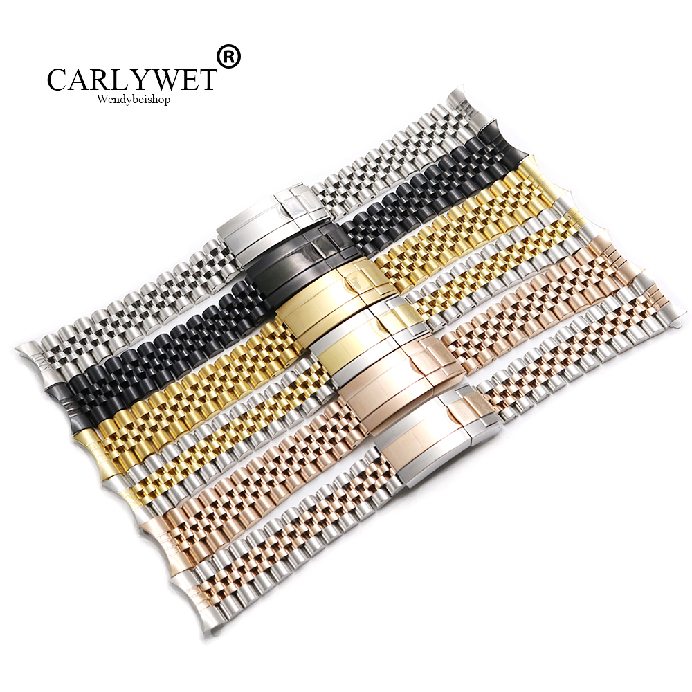CARLYWET 19 20mm Hollow Curved End Solid Screw Links Steel Replacement Jubilee Watch Band Bracelet For Datejust