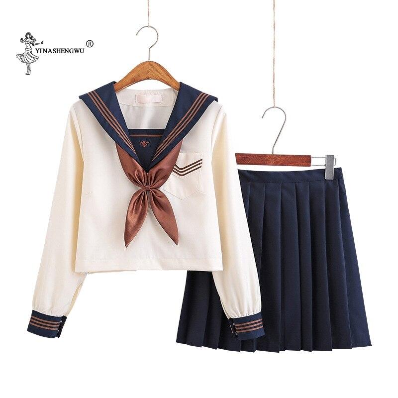 Japanese School Uniforms Anime COS Sailor Suit Jk Uniforms College Middle School Uniform For Girls Students Light Yellow Costume