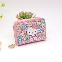 Free Shipping Character Cat Card Holder Wallet Zipper Mini Women Passport Cover High Quality PU Waterproof