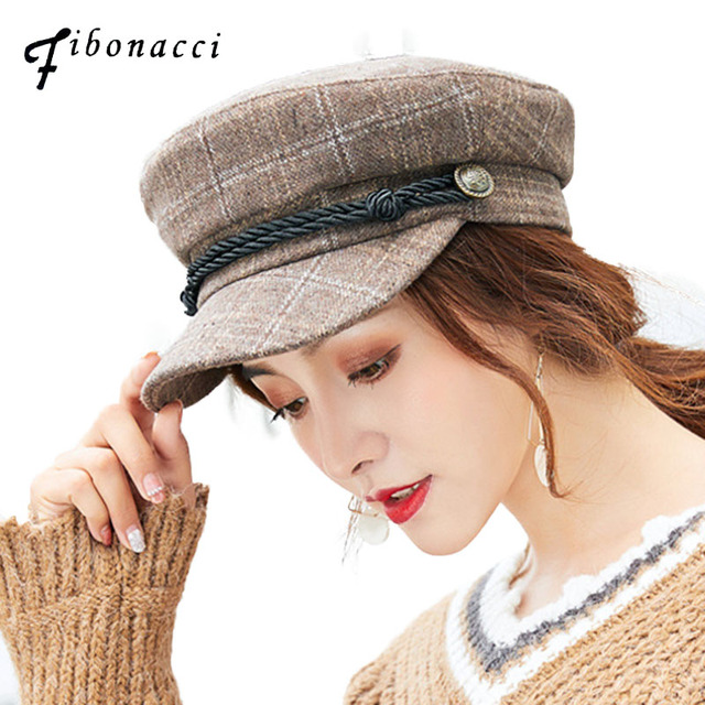 94b7d4ac6e3 Fibonacci 2018 New Nylon Plaid Female Military Cap Women Autumn Winter  Fashion Casual Flat Top Army
