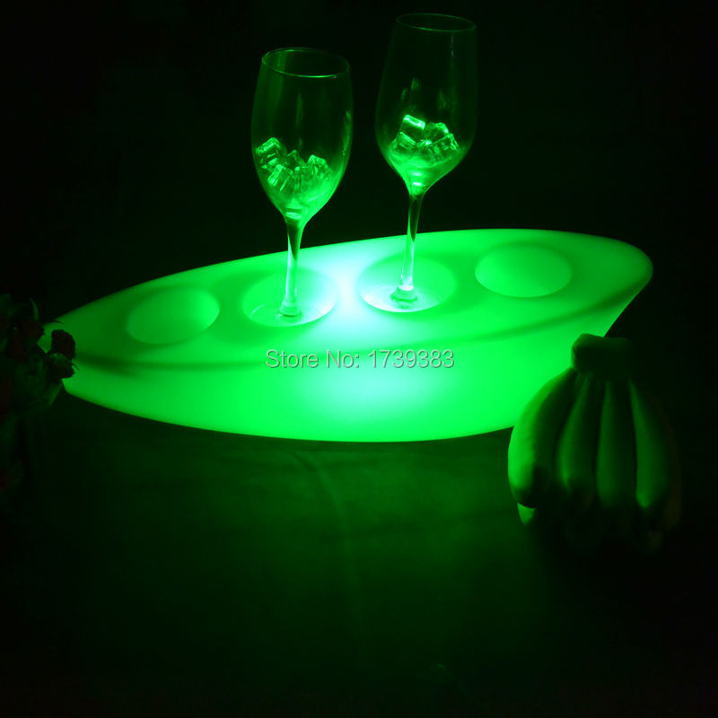 Waterproof illuminated Multi Colors LED floating Champagne Boat Shaped Serving Tray Light Ice Bucket Rechargeable