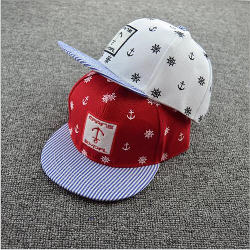 Korean Style Pirates Hip Hop Cap Fashion Snapbacks Baseball Cap Children Hat Stripes Brim Flat Caps Kids trendy hip hop style leopard head rivets baseball hat cap red gold