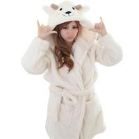 Winter Cartoon Panda Nightgowns Homewear Bathrobe Women Pajamas Bath Robe Sleepwear Women Robes Coral Velvet Women Clothing