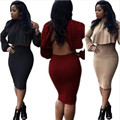 Adogirl Two Piece Outfit New Women Autumn Winter Sexy Long Sleeve Open Back Turtleneck Crop Top With Bandage Club Midi Skirt Set