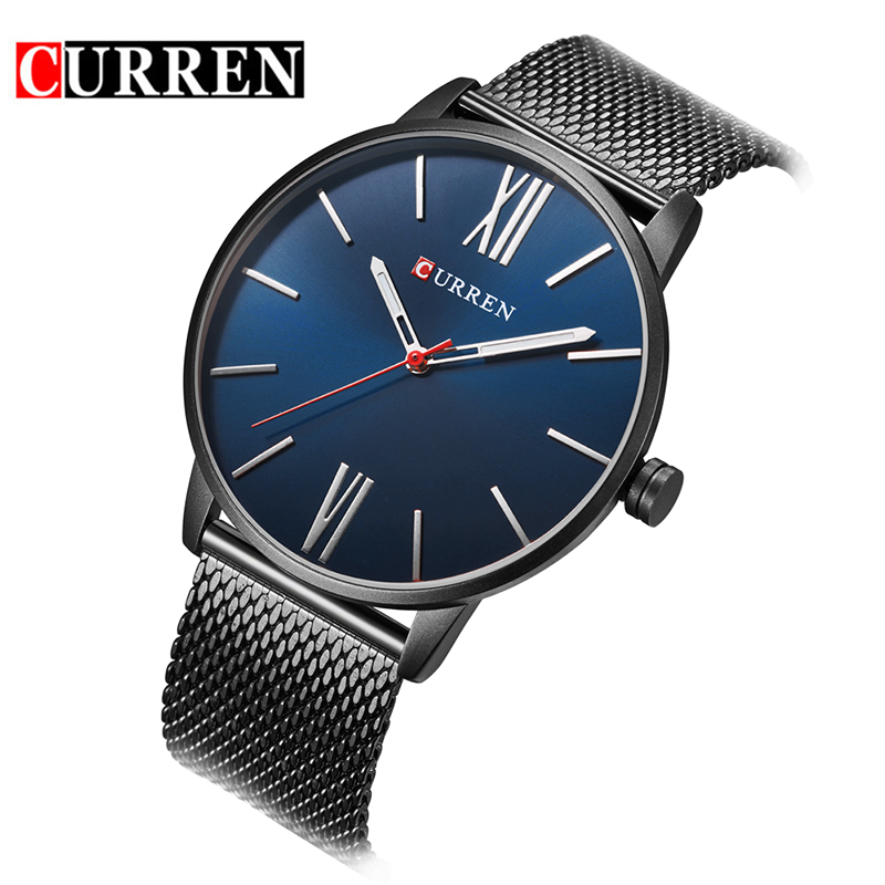 a55ed4c4d57 Marca CURREN 8238 Simples Minimalismo luxo Quartz Relógios de pulso para  homens relogio masculino preto