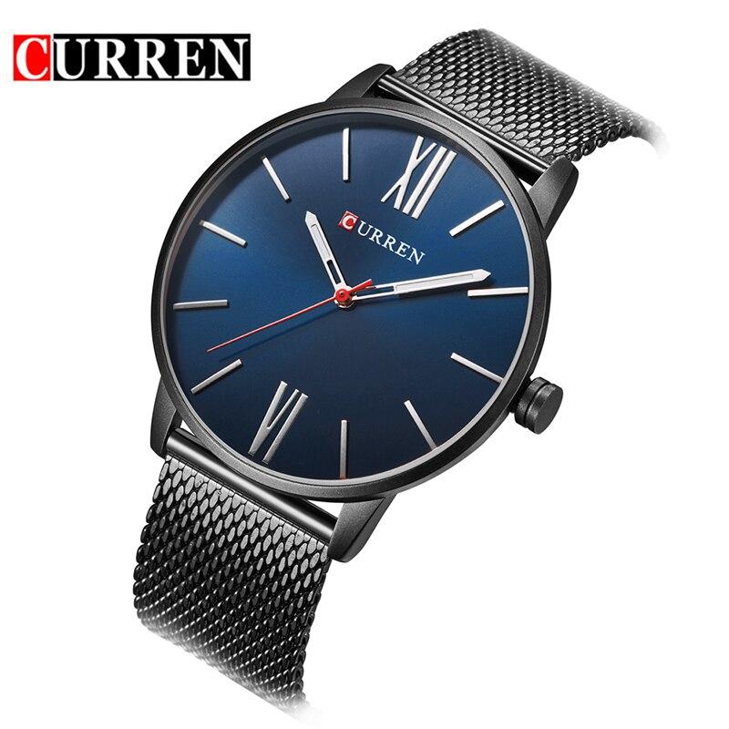 CURREN Марка 8238 простой минимализм Роскошные Кварцевые наручные часы для мужчин relogio masculino черный/золото часы из нержавеющей стали N9