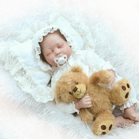 About 50cm Silicone Reborn Baby Brown Wig Girl Closed Eyes Toy Handmade Lifelike Fashionable Christmas Gift For kids