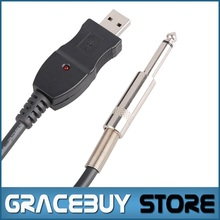 10 pcs / lot Wholesale USB to 10FT / 3M 1/4″ / 6.35 mm Guitar Audio Cable , Computer to Guitar Interface Cable , FACTORY NEW