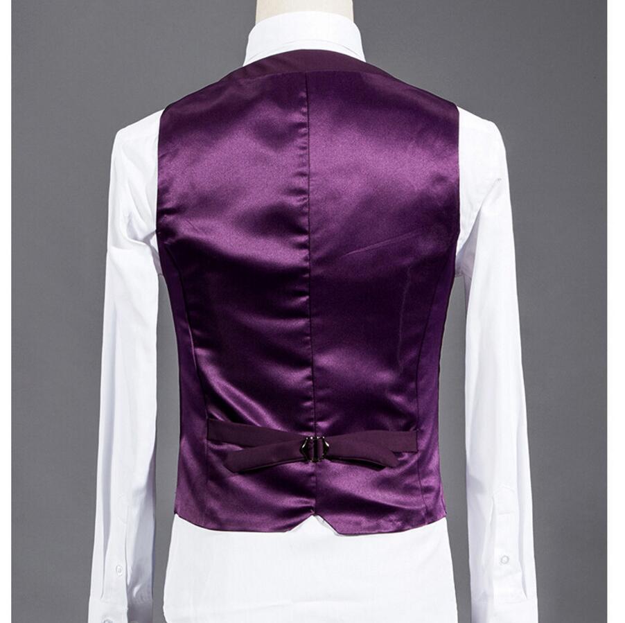 Hombres traje chaleco rojo púrpura padrinos de boda smoking chaleco ...