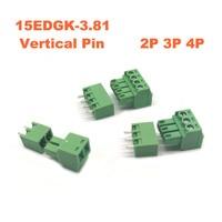 10000Set Pitch 3.81mm 15EDGK 2P 3P 4P Screw Plug in PCB Terminal Block Pluggable Connector Vertical Pin male/female morsettiera